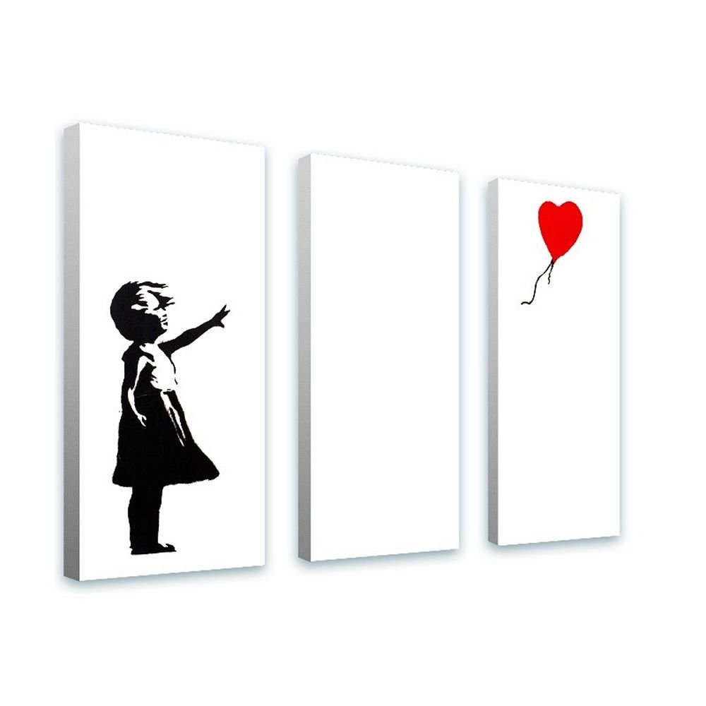 Alonline Art - Balloon Girl Banksy FRAMED STRETCHED CANVAS (100% Cotton) Gallery Wrapped - READY TO HANG | 40''x30'' - 102x76cm | 3 Panels split Framed Paintings For Home Decor Framed Artwork