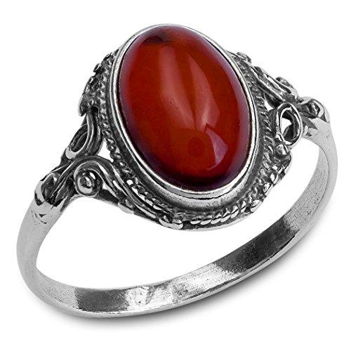 Sterling Silver Red Dark Amber Oval Filigree Ring