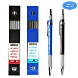 Green Convenience 2 Pieces 2.0mm Mechanical Pencils, High-End Premium Drawing Pencils, 24 Pieces Durable 2mm Lead Refills for Draft Drawing, Carpenter, Crafting, Art Sketching (Blue and Black)