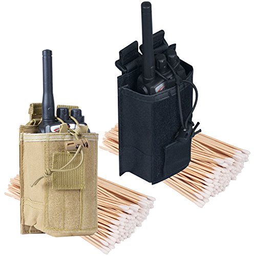 Radio Pouch - 600D Tactical Molle Two Way Radios Holder Case For Walkie Talkies(Tan+Black,2 (Radio Attachment)