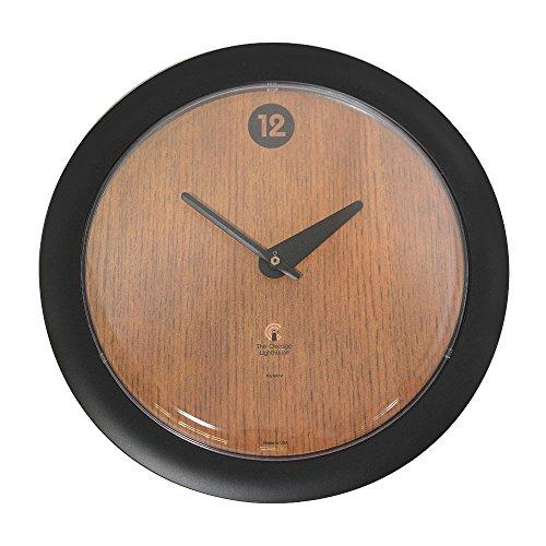 Oak Veneer -Sleek Black Frame-14 Fashion Wall Clock-Contemporary