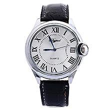 Tonsee Luxury Fashion Faux Leather Mens Quartz Analog Wrist Watch Black