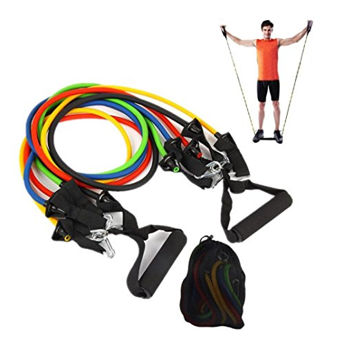 Rally Elastic Rope Fitness Multi Function Resistance Rope with Handle 1Set by Ounice