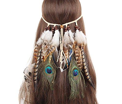 SEADEAR Indian Headdress Women Bohemia Peacock Feather Tassel Headband Party Headwear Hair Styling Accessories - Indian Headdress