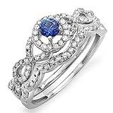 14K White Gold Round Blue Sapphire & White Diamond Ladies Halo Style Engagement Ring Set (Size 8)