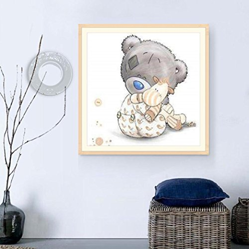 5D Full Drill Diamond Picture, Vmree Teddy Bear DIY Rhinestone Embroidery Painting Crystals Pasted Handcraft Cross Stitch Handiwork Kits Visual Arts for Home Decor (C)