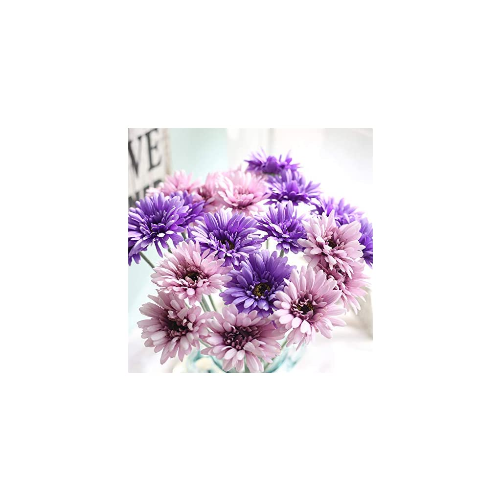 "cn-Knight Artificial Flower 12pcs 22"" Long Stem Silk Daisy Faux Mums Flower Chrysanth Gerbera for Wedding Bridal Bouquet Bridesmaid Home Decor Office Baby Shower Prom Centerpiece(Purple)"