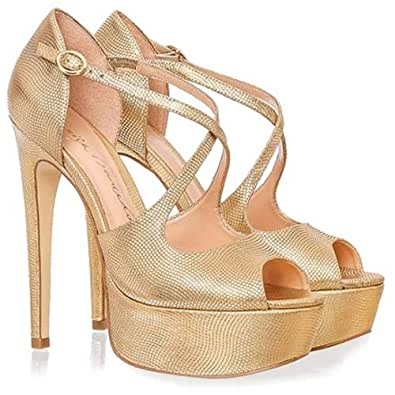 Luiza Barcelos Gold Heel For Women