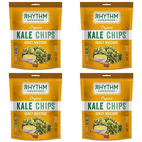 Rhythm Superfoods Kale Chips, Honey Mustard, Organic and Non-GMO, 2 Oz (Pack of 4), Vegan/Gluten-Free Superfood Snacks (Honey Mustard Organic)