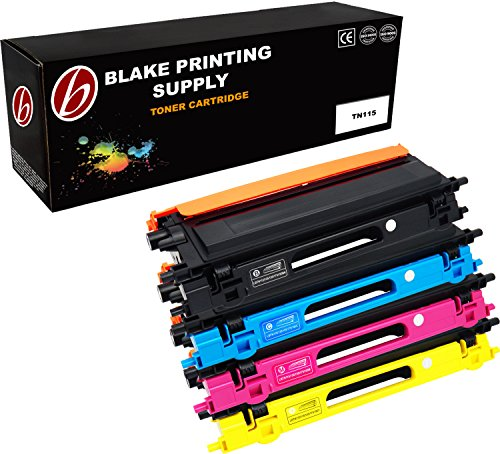 Blake Printing Supply 4 Pack Black Cyan Magenta Yellow Compatible Toner Cartridge Replacement For Brother TN115 TN115BK DCP-9045CDN HL-4040CDN HL-4040CN HL-4070CDW MFC-9440CN MFC-9840CDW High (Brother Dcp 9045cdn Laser)