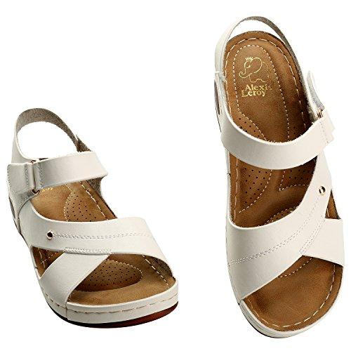 Alexis Leroy Offene Sportliche Damen Knöchelriemchen Sandalen Weiß