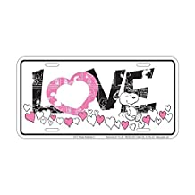 Peanuts - Pink Love Snoopy License Plate