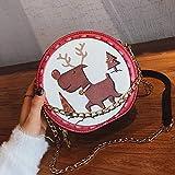 Huasen Shoulder Bag Round Chain Fashion Shoulder Slung Ladies Casual Small Bag Shopping Bag (Color : Buff, Size : 18cm16cm9cm)