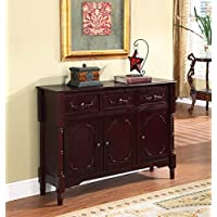 Kings Brand R1021 Wood Console Sideboard Table with Drawers and Storage, Cherry Finish
