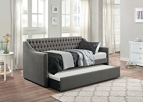 - Homelegance Sleigh Daybed with Tufted Back Rest and Nail Head Accent, Twin, Dark Grey