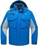 Wantdo Men's Outdoor Mountain Waterproof Rain Jacket Windpoof Ski Jacket Acid Blue US L