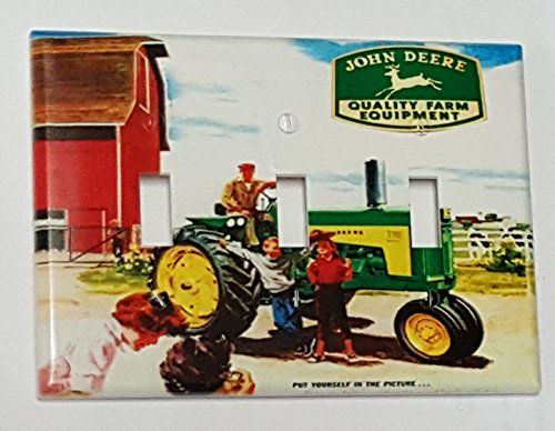 (JOHN DEERE Tractor Triple Toggle Light Switch Plate Cover)
