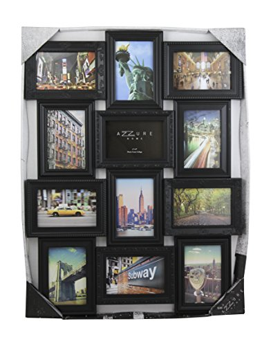 Azzure Home 12 Openings Decorative Wall Hanging Collage Picture Frame - Made to Display Six 6x4 and Six 4x6 Photos, Black