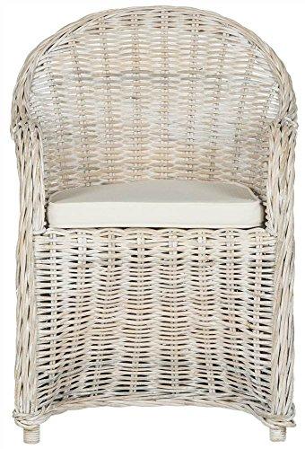 (Safavieh Home Collection Callista White Wash Wicker Club Chair, Standard)