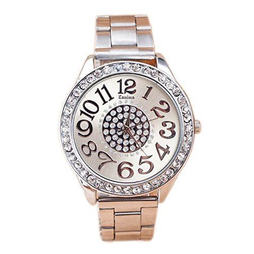 Ladies Luxury Diamond decoration Stainless Steel Quartz Wrist Hour Dial women Watch Large Number Face (S, Silver)