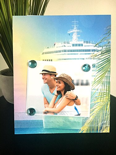 Tropical Cruise Ocean Voyage - Magnetic Picture Frame Handmade Gift Present Home Decor by Frame A Memory Size 9 x 11 Holds 5 x 7 Photo - Vacation Travel Summer - Frame Voyage