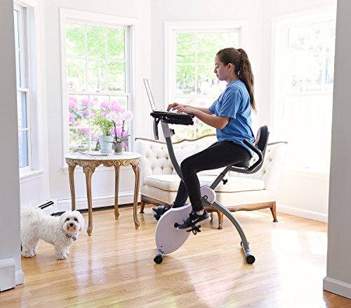 Ivation Magnetic Folding Exercise Bike/Workout Cycle with Integrated Productivity Desk ()