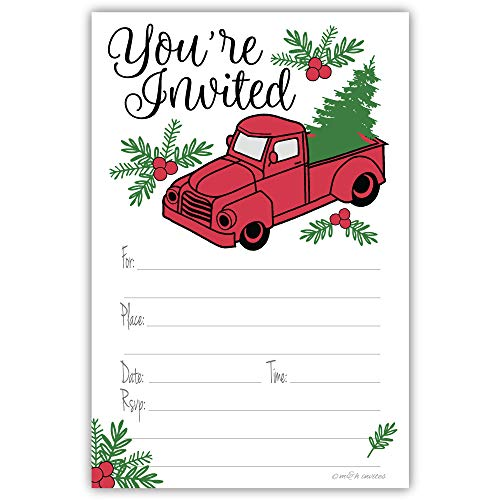 Christmas Party Invitations - Vintage Red Truck with Tree - Set of 20 Holiday Invitations with Envelopes -