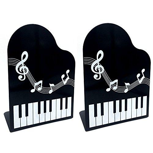 Richohome 1 Pair Piano Bookends Non Skid Base Bookends Cute Art Bookends Black
