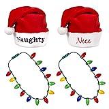 Windy City Novelties Ugly Sweater Christmas Party Kit - (2) Pack Plush Santa Hats + (2) Pack LED Christmas Necklace (Naught & Nice + Necklace)