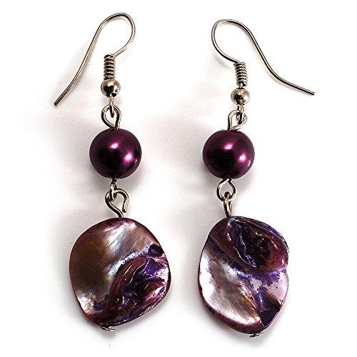Boucles d'Oreille Pendantes Perles Coquillage Violet (Ton Argent)