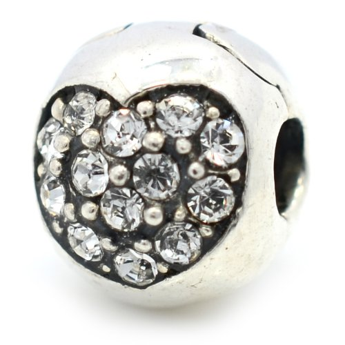 Pro Jewelry .925 Sterling Silver Crystal Pave Heart Birthstone Clip Charm (April )