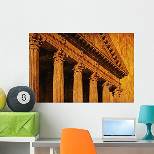 Wallmonkeys Columns and Fascia of Greek or Roman Style Building Wall Decal Peel and Stick Graphic WM118194 (36 in W x 24 in H)