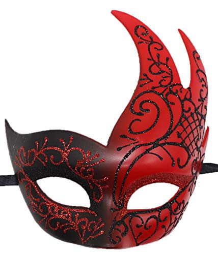 Coolwife Masquerade Mask Vintage Venetian Costume Mardi Gras Cosplay Ball Party Mask (Red)