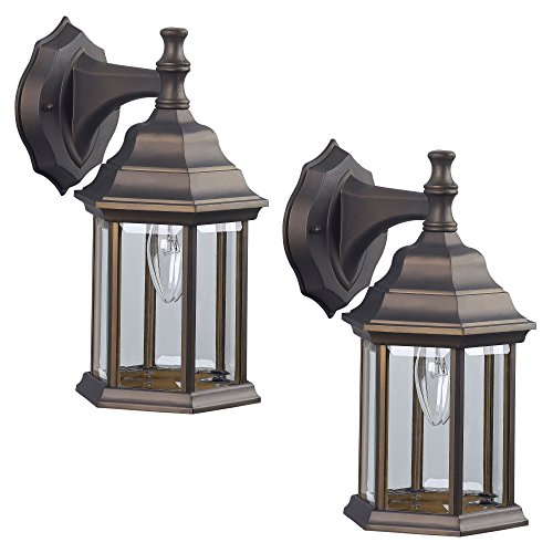 2 Pack of Exterior Wall Light Fixture Outdoor Sconce Lantern, Oil Rubbed ()