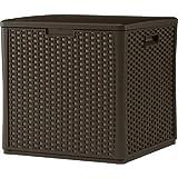 Suncast BMDB60 Durable Double Wall Resin Wicker Patio Storage Deck Box, 60-Gallon
