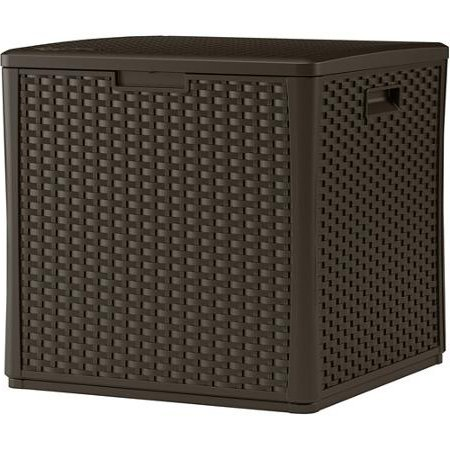 Suncast BMDB60 Durable Double Wall Resin Wicker Patio Storage Deck Box, 60-Gallon by Suncast