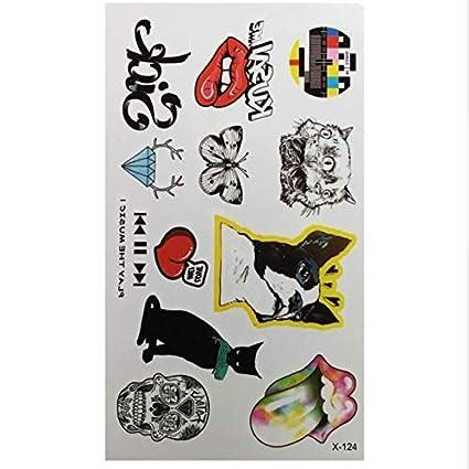 ruofengpuzi Adesivo tatuaggioImpermeable Color Perro Gato Labios ...