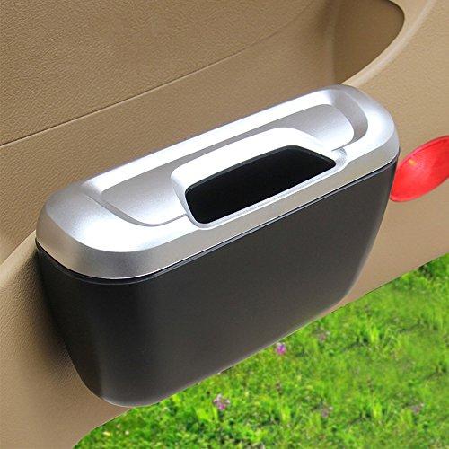Geekercity Universal Portable Mini Car Trash Can - Mini Auto Car Vehicle Garbage Dust Case Holder Box Bin Trash Rubbish Can (Silver)