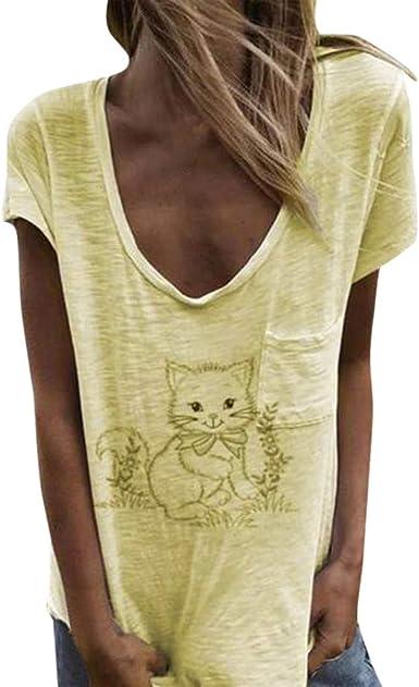 Camisetas chulas para Mujer Camisa de Manga Corta Blusa Casual Tops Blusa con Estampado de Verano para Mujer de Mujer Fiesta Playa LiNaoNa: Amazon.es: Ropa y accesorios