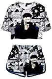 AMOMA Women Girls Cosplay Anime Jujutsu Kaisen 3D Printed Crop Top and Shorts Two Pieces Sets Tracksuit(M,ComicsBlue)