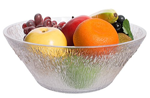 Break Resistant Clear Plastic Fruit and Salad Bowl, Large (3 1/2 Qt) (Large Round Clear Bowl)