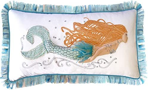 Rightside Design Pearl of The Sea Embroidered and Applique Mermaid Pillow