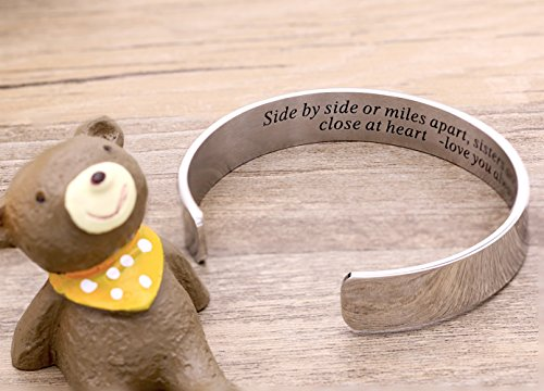Side By Side Or Miles Apart Bracelet Stainless Steel . Sister to Sister Gift ,Maid of Honor Gift / Bridesmaids Gifts (White) by Melix Home (Image #2)
