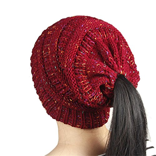 Keenwhile Warm Ponytail Hats For Women Cotton Knitted Winter Caps 3