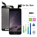 Compatible with iPhone 6s Screen Replacement Black(4.7''), LCD Display & Touch Screen Digitizer Replacement+Home Button+Front Camera+Earpiece Pre-Assembled+Free Repair Tools