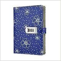 Diario de Cuero de Viajes ,cuaderno diario bloqueo de contraseña con cerradura diario ,Cuaderno secreto/Libreta de Viaje PU vintage TPN107,Azul 145x210mm