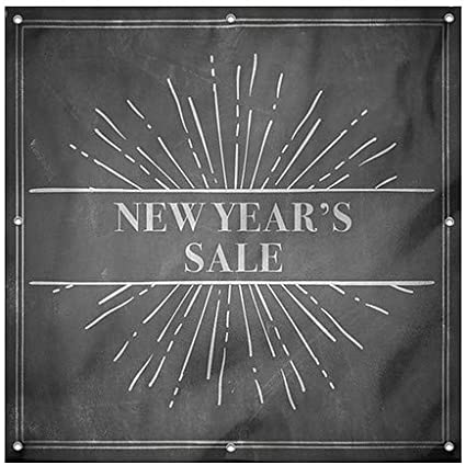 6x6 Chalk Burst Heavy-Duty Outdoor Vinyl Banner CGSignLab New Years Sale