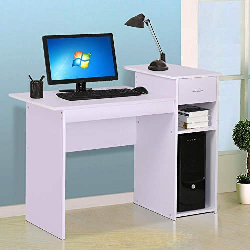 go2buy Modern Home Office Small Wood Computer Desk with Draw