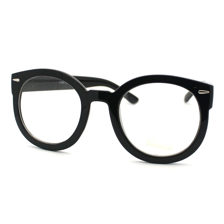 amazoncom black oversized round thick horn rim clear lens fashion eye glasses frame clothing - White Framed Glasses