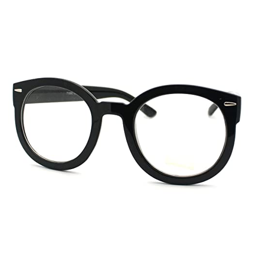 8b42950c70a Amazon.com  Black Oversized Round Thick Horn Rim Clear Lens Fashion Eye Glasses  Frame  Clothing